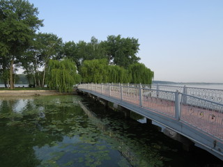 Bridge to the largest artificial island in the park.