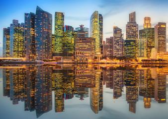 Singapore Skyline and view of Marina Bay