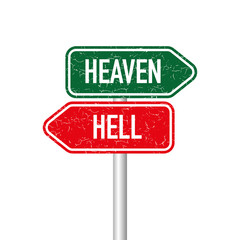 Heaven and hell signpost