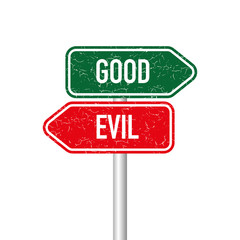 Good and evil signpost