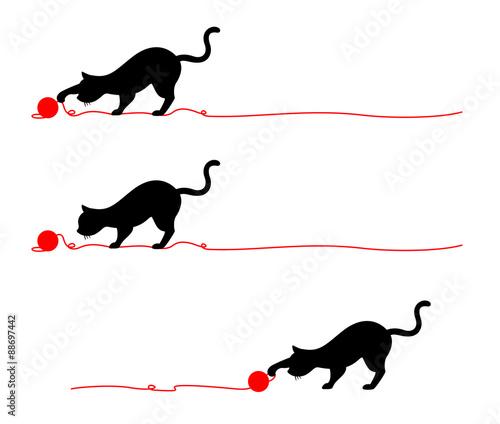 猫のシルエットライン毛糸fotoliacom の ストック画像とロイヤリティ