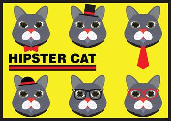 Hipster Cat Flat Cartoon Design