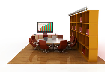 Meeting room, isolated on white. Original 3d illustration.