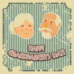 Happy grandparents day poster. Vector illustration in cartoon style
