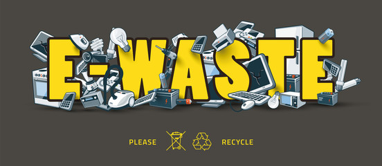 E-waste Sign with Electronic Devices