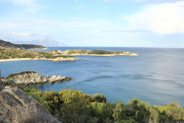 Beutiful view from the hill to the Aegean Sea in Chalkidiki