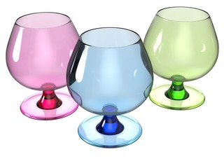 glass set render in pink, blue and green
