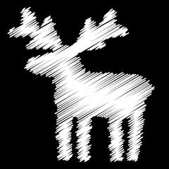 Reindeer, Christmas, Doodle, Abstract, Vector, Chalkboard, White On Black