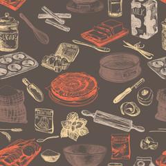 Vector bakery seamless patten. Vintage Illustration. Sketch.