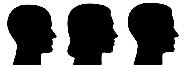 Set: 3 menschliche Vektor-Gesichter im Profil: weiblich, männlich, geschlechtsneutral / schwarz, Vektor, freigestellt