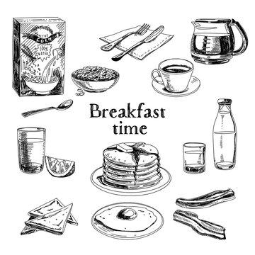 Vector breakfast hand drawn set. Vintage illustration.