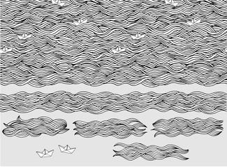 Handgezeichnetes Hintergrundmuster / Wellen