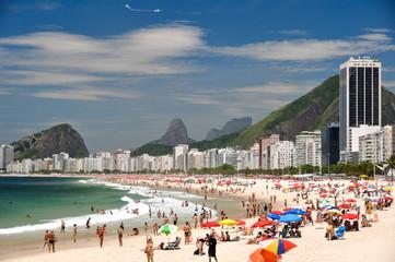 Sunny Day in Crowded Copacabana Beach