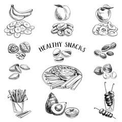Healthy food. Vector illustration in sketch style.