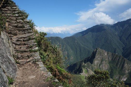 Machu Picchu monana, mountain last steps to the top of the mountain