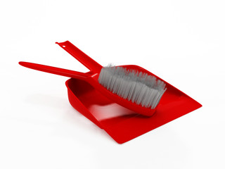 3D red dustpan and broom stick isolated on white background