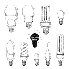 Vector hand drawn set. Sketches of different light bulbs.