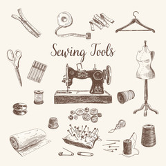 Vector set of highly detailed hand drawn sewing and knitting too