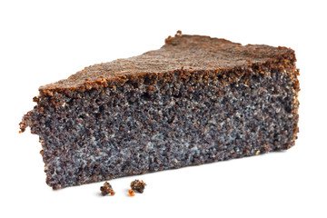 Slice of Austrian poppy seed cake isolated on white.