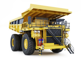 Large industrial construction dump truck on an isolated white background.