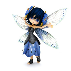 Cute toon fairy wearing blue flower dress with flowers in her hair posing on a white isolated background. Part of a little fairy series.