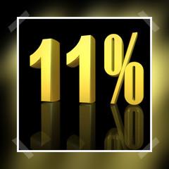 3D Prozentangabe und Prozentzeichen in Gold mit Spiegelung