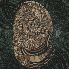 Hand drawn decorative Pattern with brown Snakes