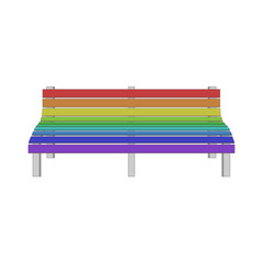 Single modern Bench in gay rainbow Colors