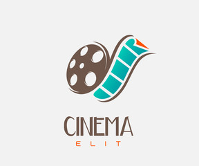 film strip cinema abstract logo design template