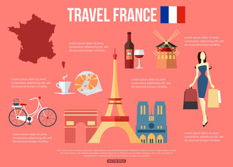 France travel background with place for text. Set of colorful