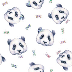 Pandas on white background. Seamless pattern. Watercolor drawing. Children's illustration. Handwork