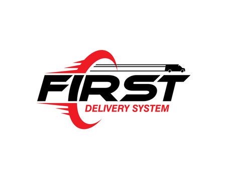 first delivery system wordmark for shipping company logo