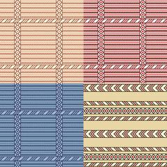 Seamless pattern set. Ethnic stylized. Geometric ornaments used in folk textile.