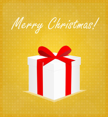 Merry Christmas Greeting Card Gift Box with Bauble Golden Background EPS 10