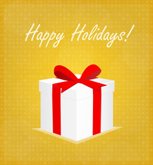 Happy Holidays Greeting Card Gift Box with Bauble Golden Background EPS 10