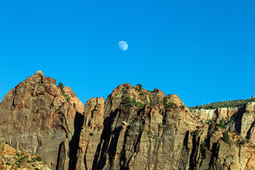 Zion National Park, moonrise over Kolob Canyons section
