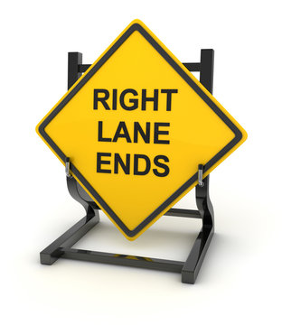 Road sign - right lane ends