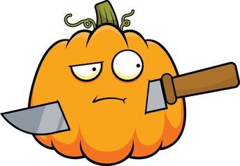 Cartoon Pumpkin and Knife