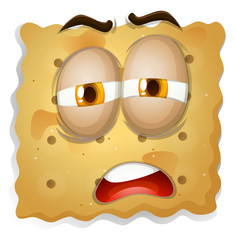 Yellow square biscuit face