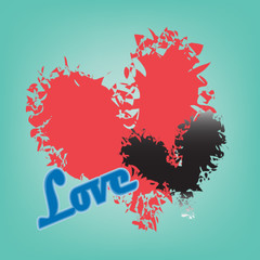 abstract red and black heart on blue background
