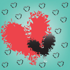 abstract magic colorful heart on blue background