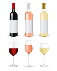 Bottles of wine and glasses - red wine, white wine, and rose