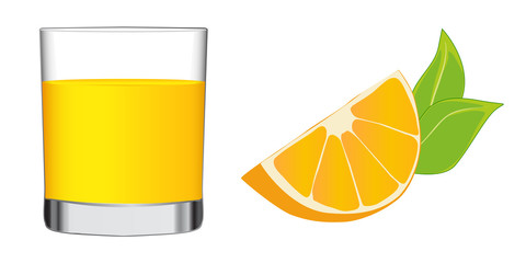 Orange juice in a glass with wedge of orange nearby