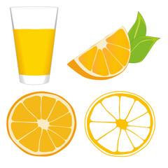 Glass of orange juice, slice of orange, wedge of orange