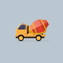 Yellow Concrete Mixer Truck. Flat style vector icons.