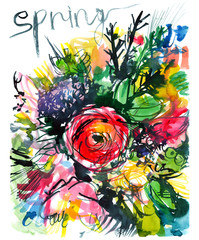 abstract colorful bouquet with red rose in the center/ lettering/ spring/ poster/ watercolor painting