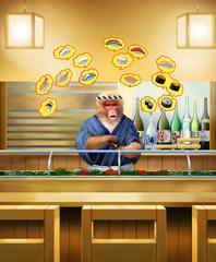 寿司店の店内で寿司を握る ニホンザルが寿司ネタを紹介