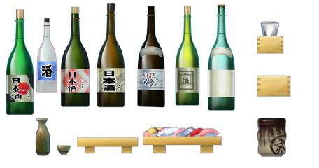 日本酒や一升瓶や湯呑み 日本料理・寿司店小物