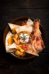 Chicken and tortilla