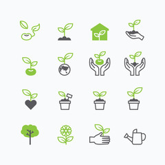 plant and sprout growing icons flat line design vector.